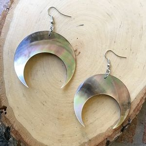 Silverskylight Jewelry - Mother of pearl big crescent moon boho earrings